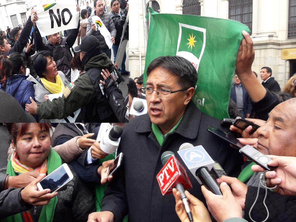 Plataformas ciudadanas realizan manifestación en inmediaciones de la vicepresidencia