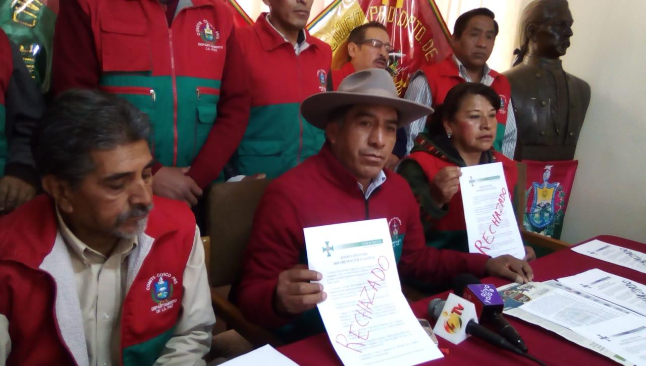 Comité Cívico Pro Departamento La Paz anuncia que no participará del paro cívico del 6 de diciembre