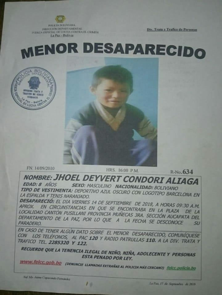 Envían a la cárcel de San Pedro al presunto implicado en la desaparición del  niño Jhoel Condori