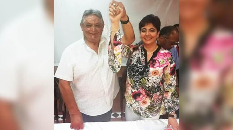 Jaime Paz Zamora presenta a su acompañante como vicepresidenta del PDC a la abogada Paola Barriga