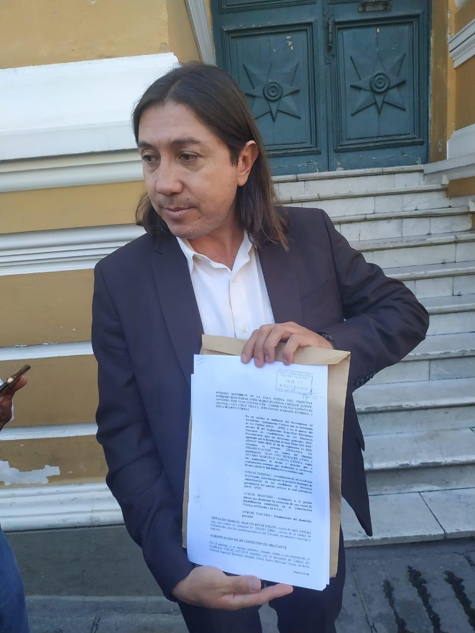 Ciudadano que se inscribió al MAS vuelve a presentar impugnación en contra del binomio Evo Morales y Álvaro García Linera