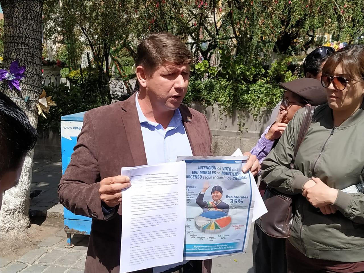 Diputado Gutiérrez presenta una demanda al TSE para la inhabilitación del binomio Evo – Álvaro