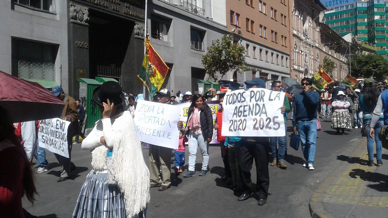 FEJUVE La Paz marcha a favor del binomio de Morales y Linera para las elecciones 2019