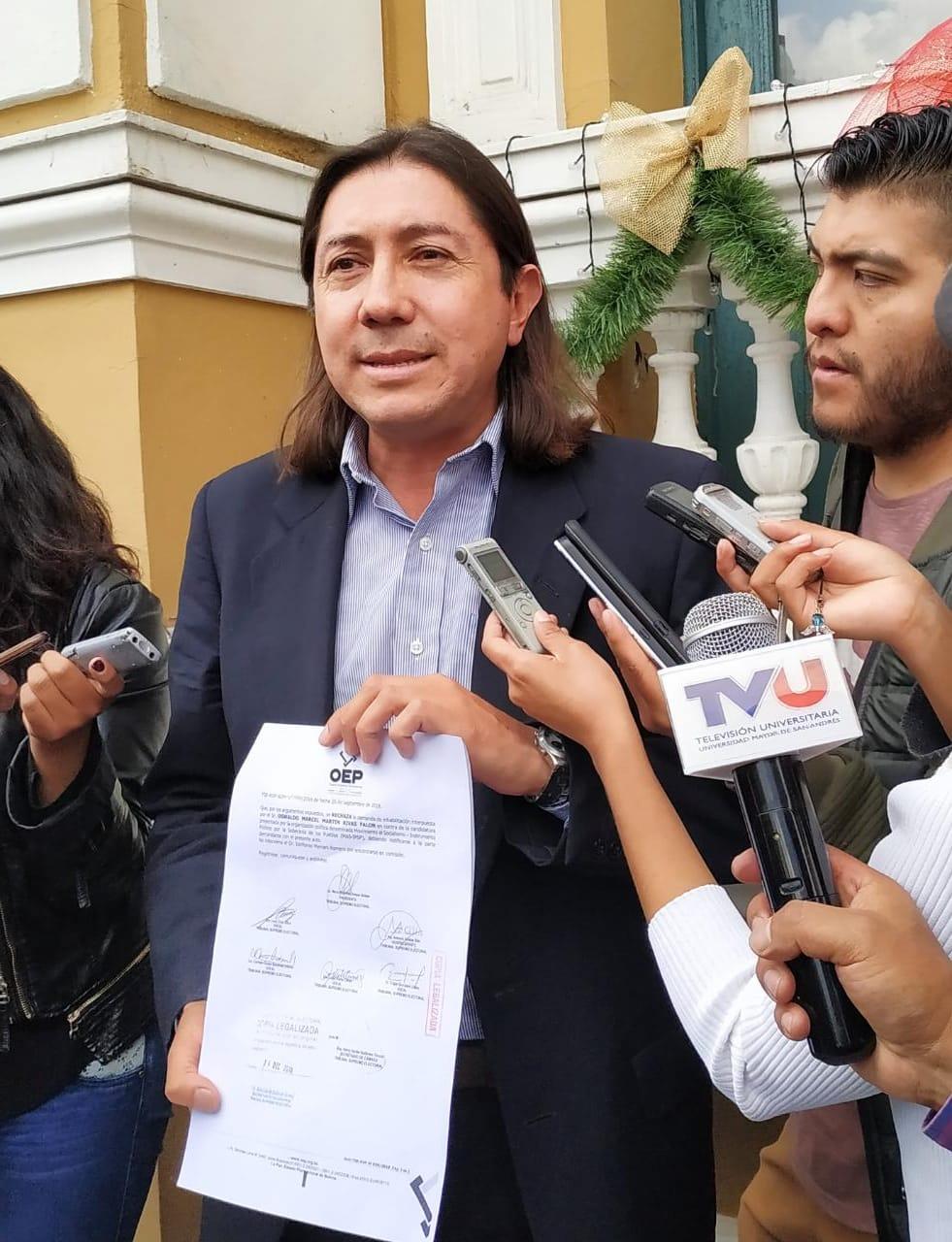 TSE rechaza la impugnación del binomio de Morales y Linera realizada por el opositor Marcel Rivas