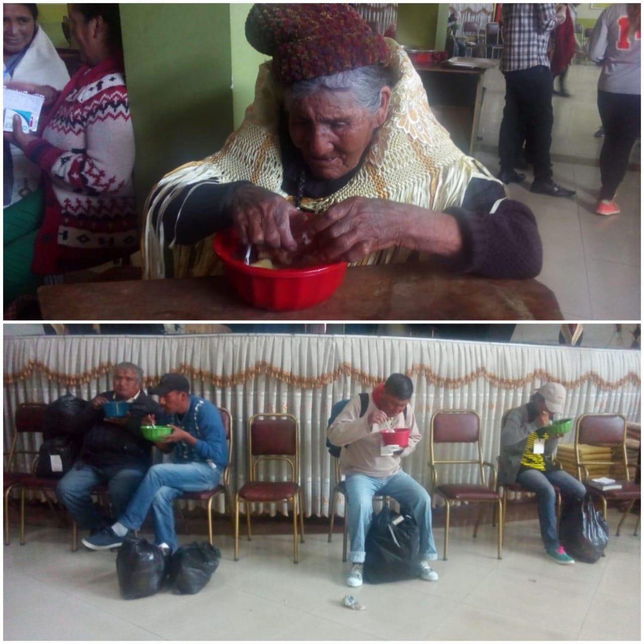 """Personas en situación de calle reciben alimentación preparada por los voluntarios de """"El Buen Samaritano"""""""