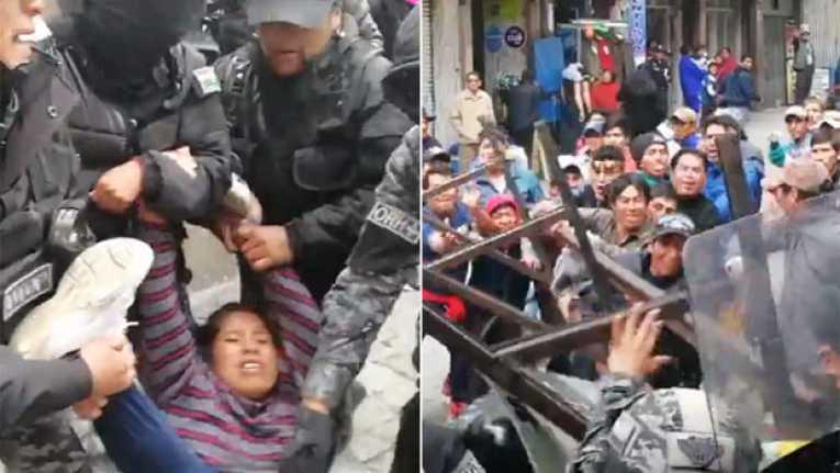Desempleados de Huanuni reportan dos mujeres heridas de gravedad tras represión policial