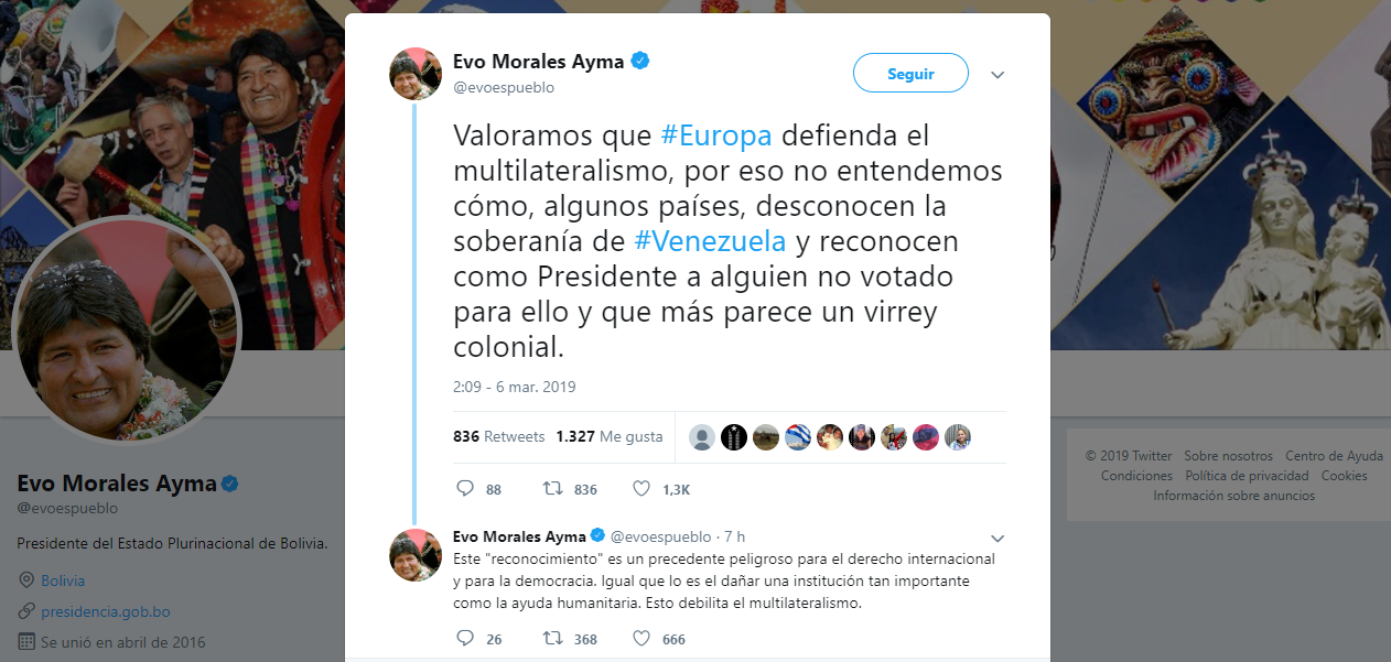 """Morales califica a Juan Guaidó como """"precedente peligroso para el derecho internacional y la democracia"""""""
