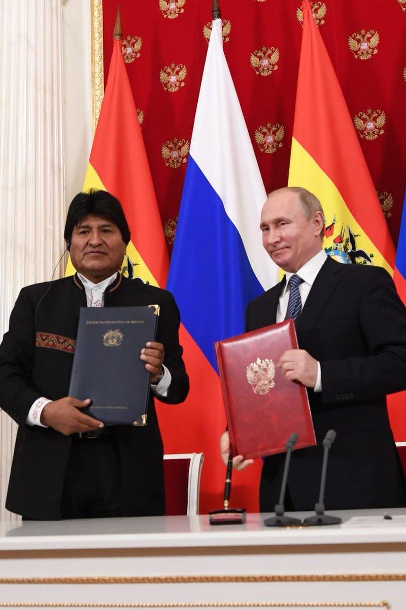 Morales y Putin firman acuerdos de cooperación en temas hidrocarburíferos y agrícolas