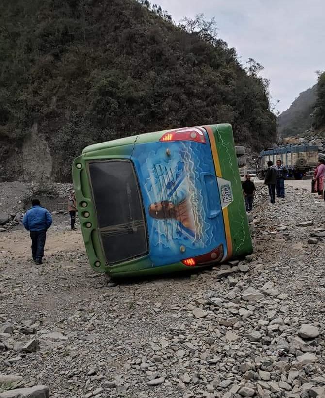 Accidente de tránsito en la ruta Chulumani deja 11 heridos