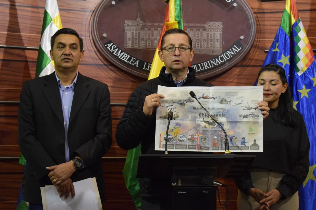 Ortiz denuncia que sólo 4 de 18 helicópteros comprados por el Gobierno son usados para mitigar los incendios en Chiquitanía