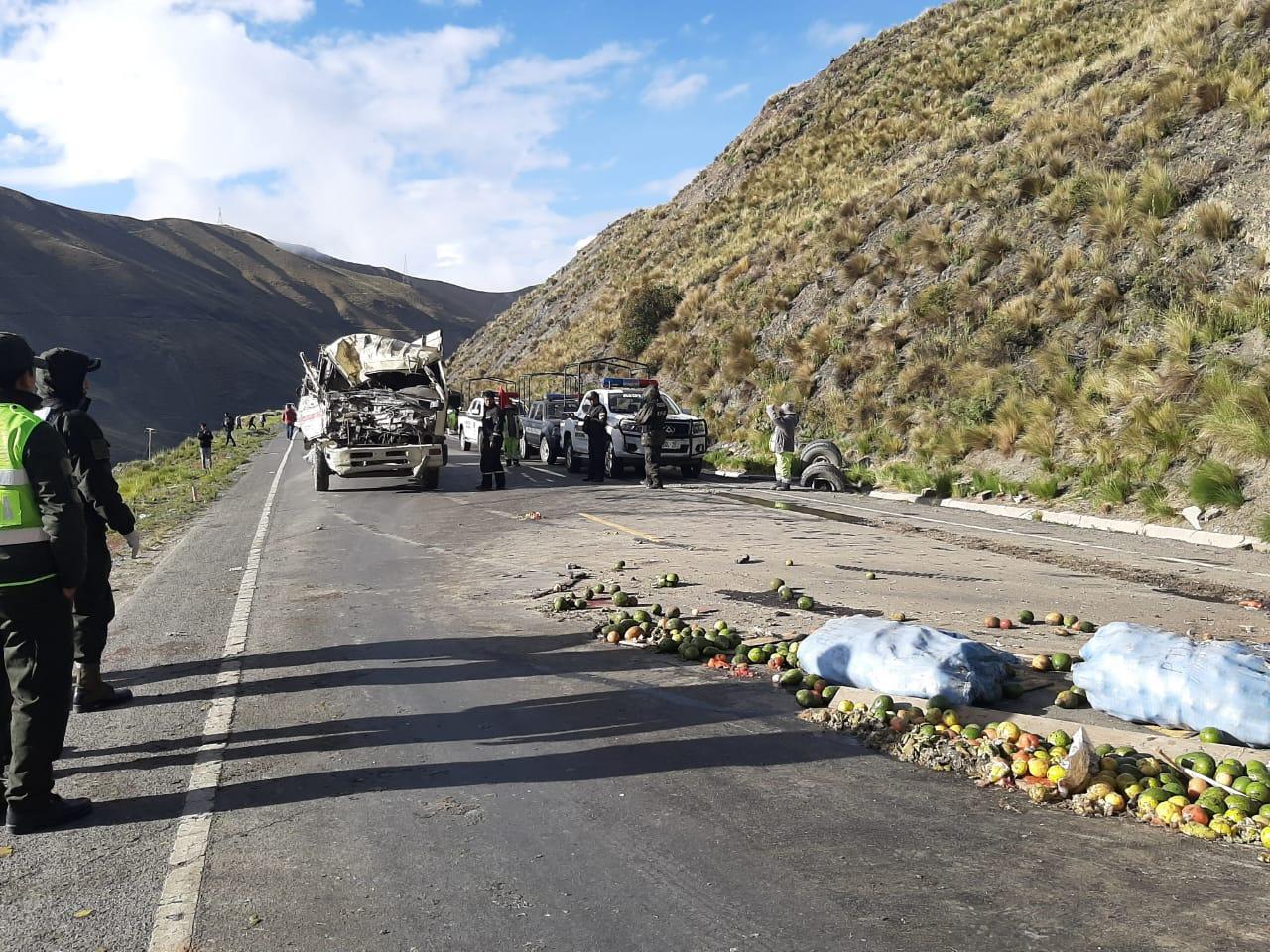 Camión colisiona contra un cerro y deja 3 muertos en los Yungas
