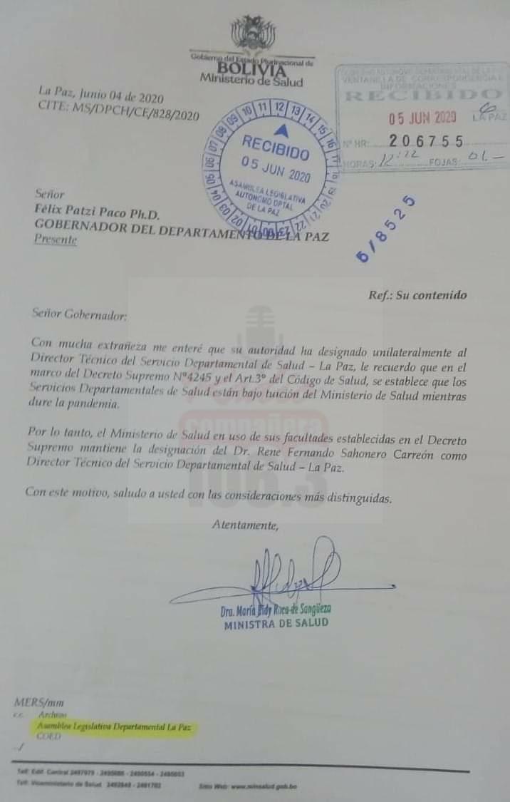Ministerio de Salud ratifica a Sahonero como director del SEDES pese a su destitución