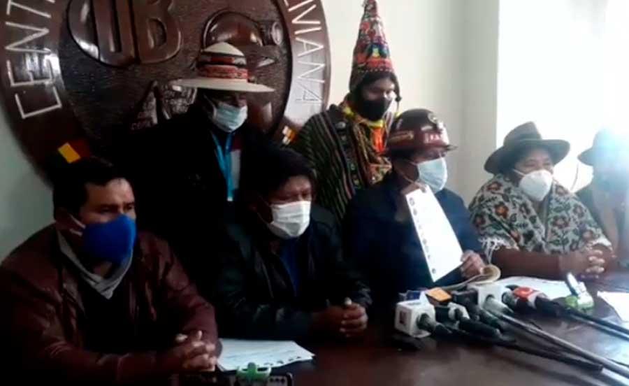 COB y Pacto de Unidad proponen fijar el 11 de octubre como fecha de las elecciones para levantar los bloqueos