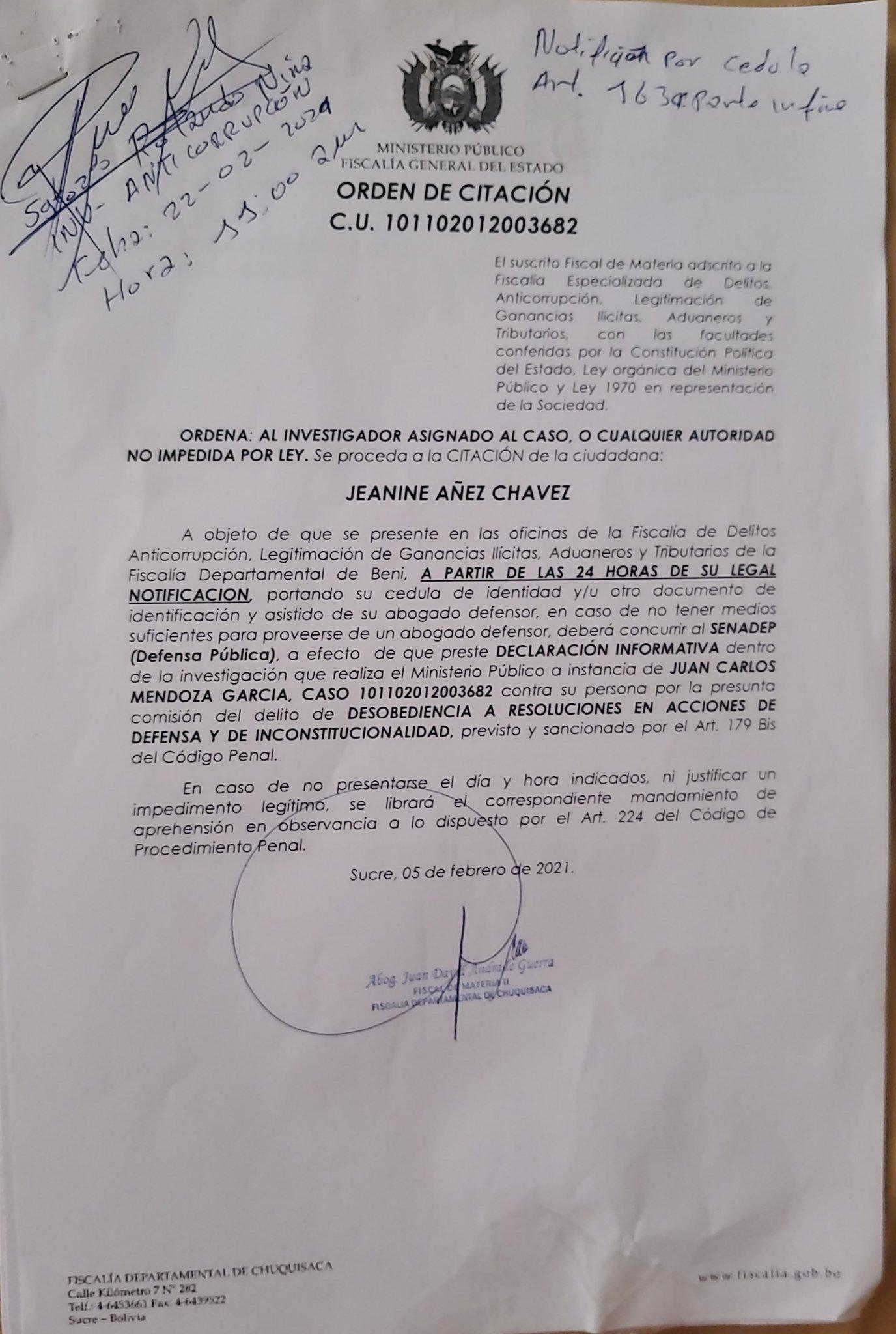 "Añez denuncia persecución política tras ser citada a declarar ante la Fiscalía por un ""caso sin fundamento"""