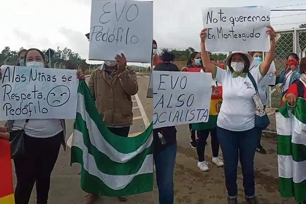 Pobladores de Monteagudo rechazan la llegada de Evo y lo reciben con abucheos