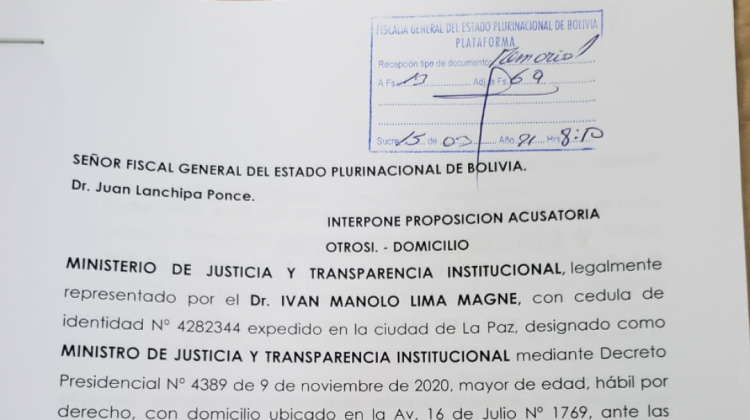 Lima presenta las cuatro acusaciones de juicio de responsabilidades contra Añez y exministros