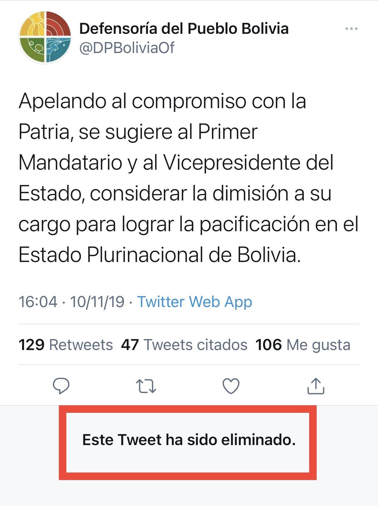 Defensoría del Pueblo elimina un tuit y un comunicado en el que pedía la renuncia de Evo