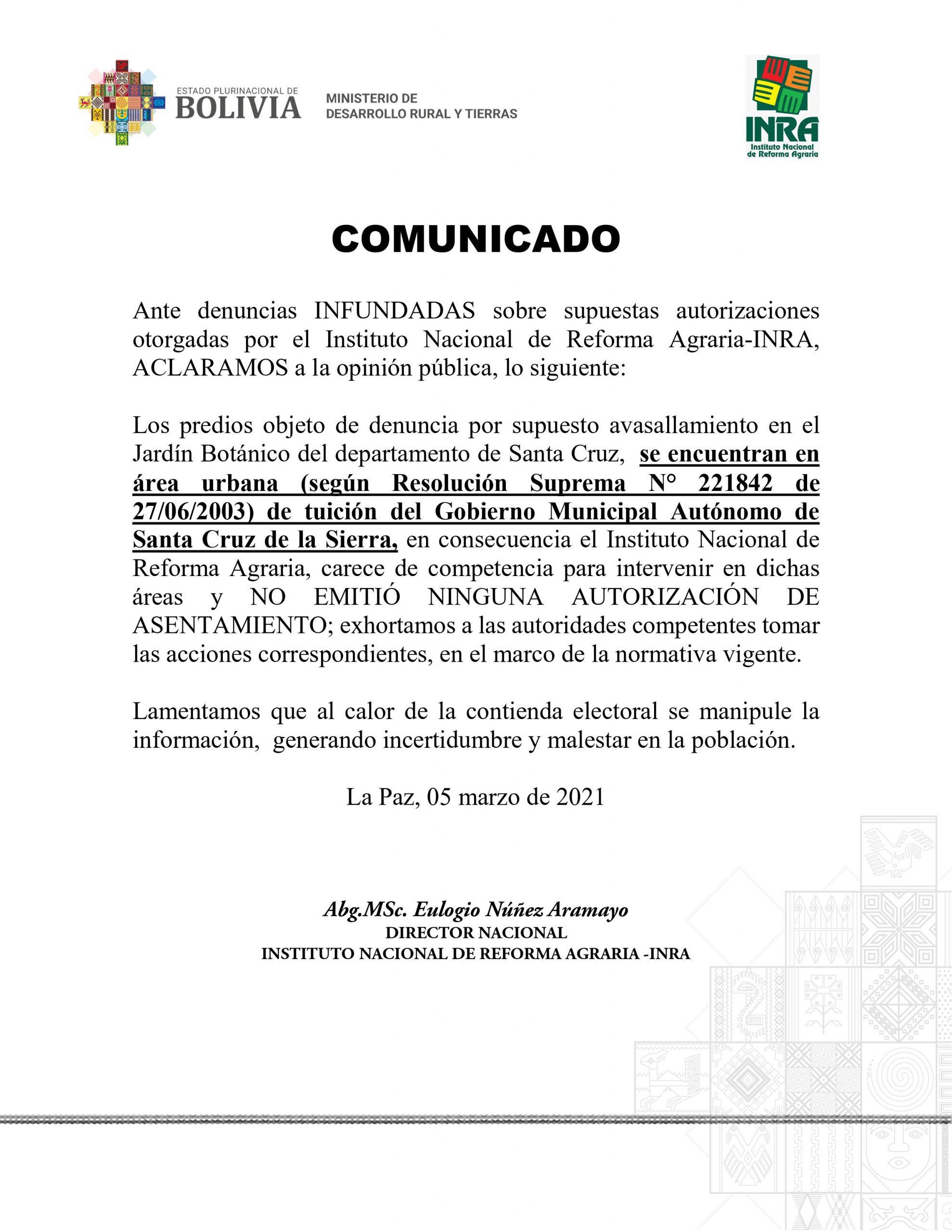 INRA aclara que no emitió una autorización para el asentamiento en el Jardín Botánico de Santa Cruz