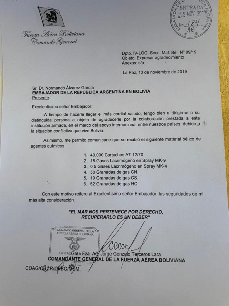 Defensa de Terceros iniciará un peritaje a la carta sobre el armamento argentino debido a irregularidades en el documento