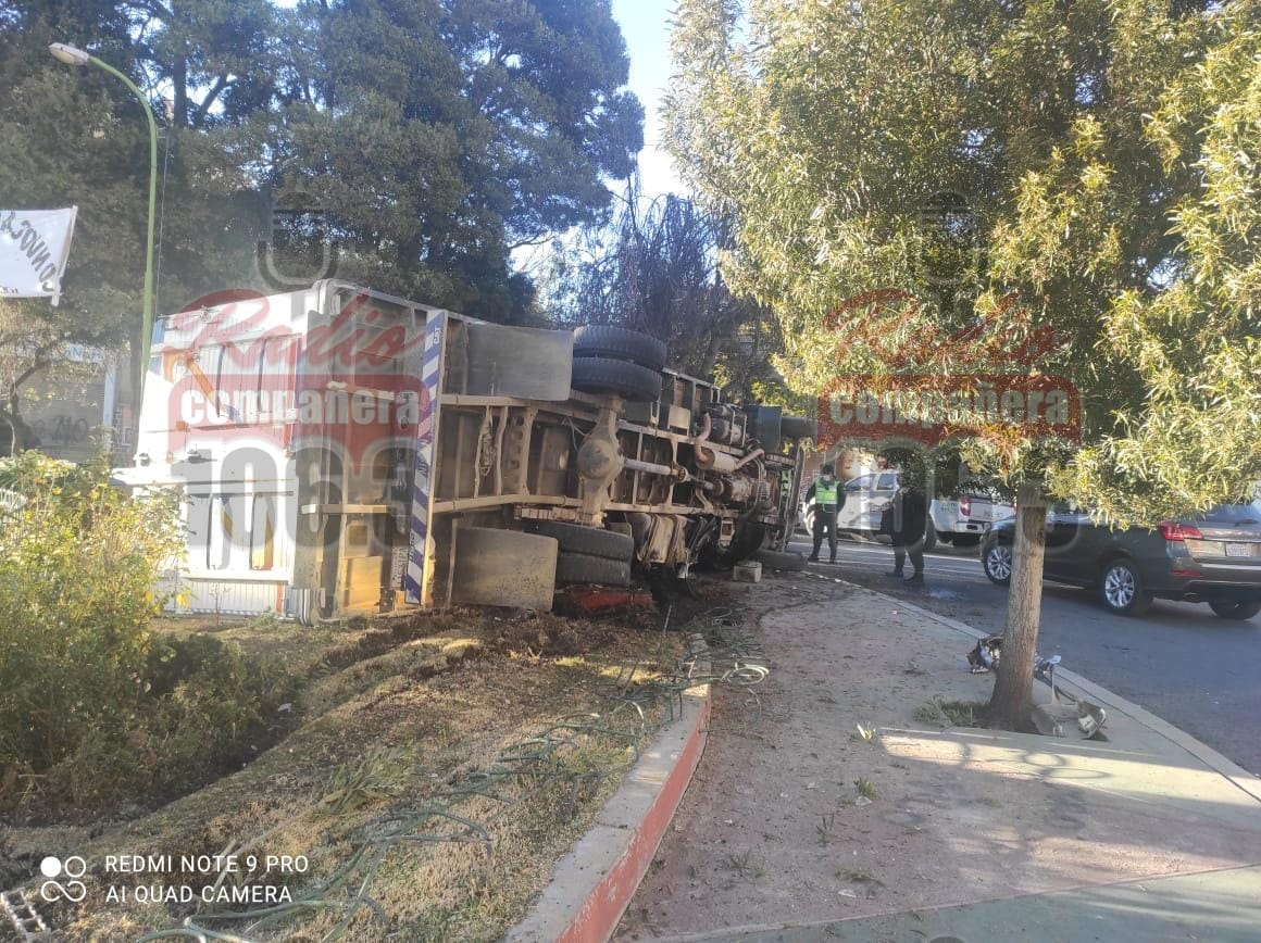 Camión pierde el control y colisiona contra una jardinera en Sopocachi