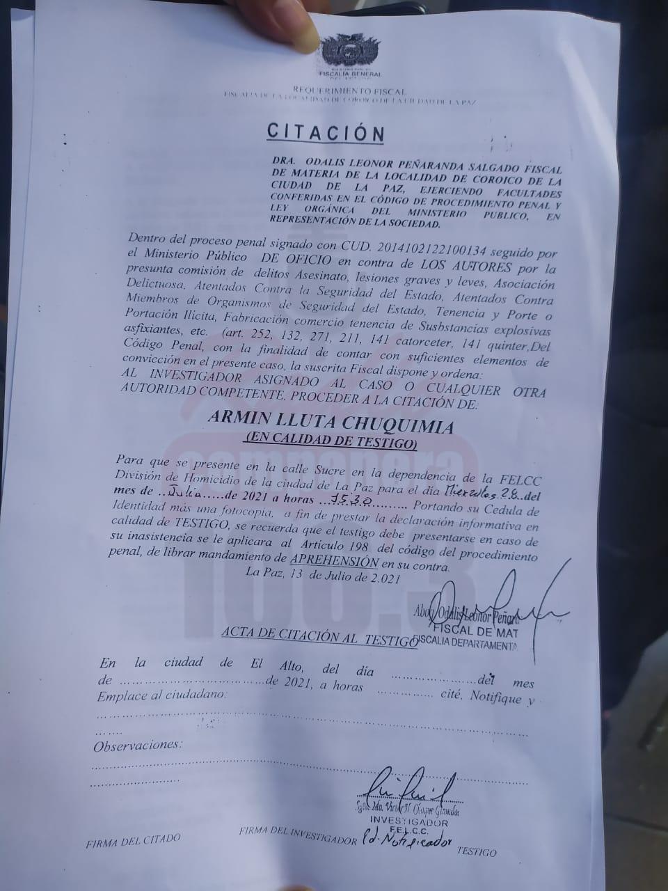 Armin Lluta fue convocado a declarar por la muerte de un policía en Coripata