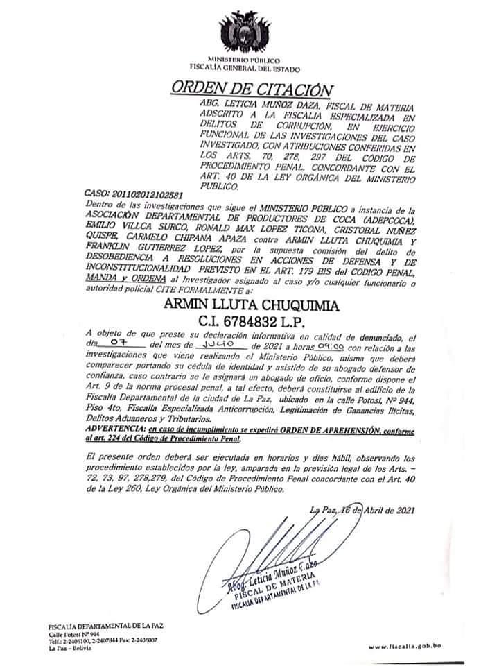 Fiscalía cita a Presidente de Adepcoca