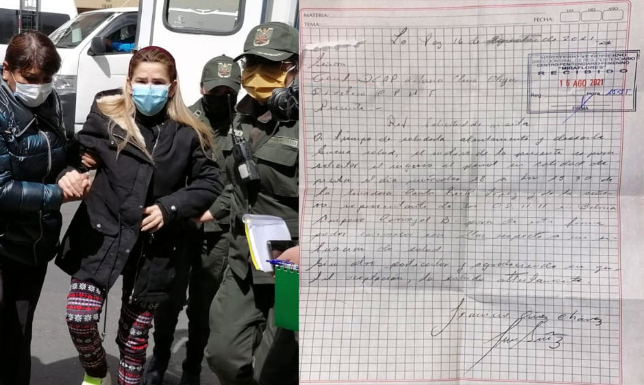 Añez pide recibir la visita de la senadora Rek y Amparo Carvajal para hablar de su salud