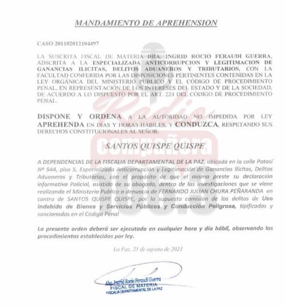 Fiscalía ordena la aprehensión de Santos Quispe por uso indebido de bienes públicos y conducción peligrosa