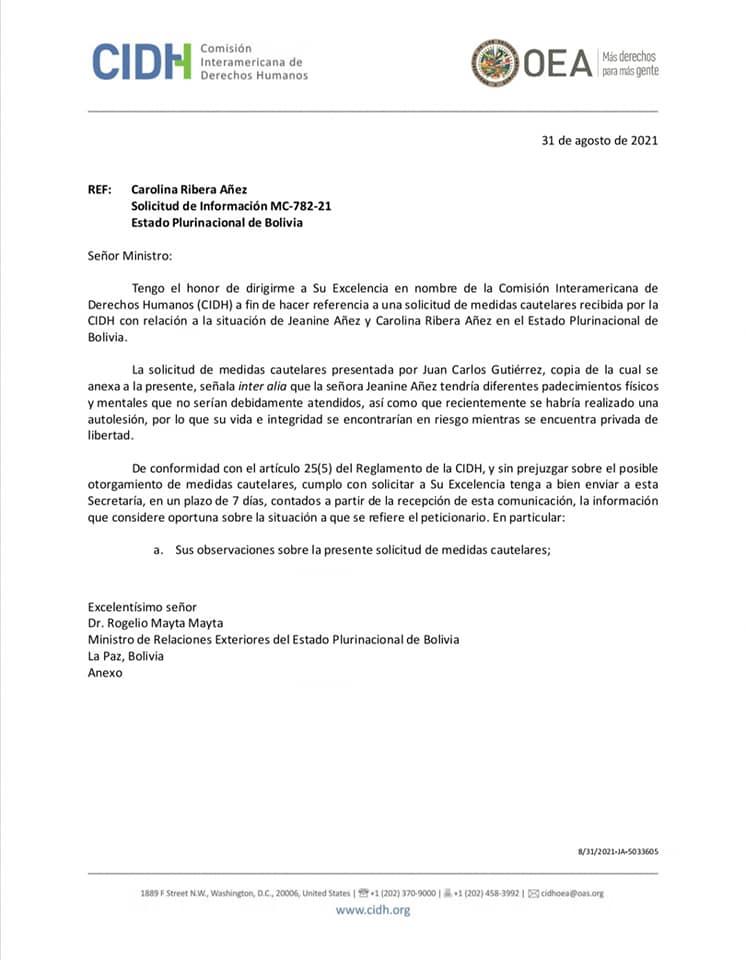 CIDH da plazo de una semana al Estado para informar sobre el estado de Añez