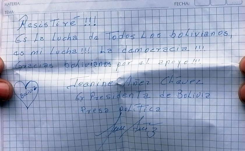 """Añez: """"Resistiré, es la lucha de todos los bolivianos, es mi lucha"""""""