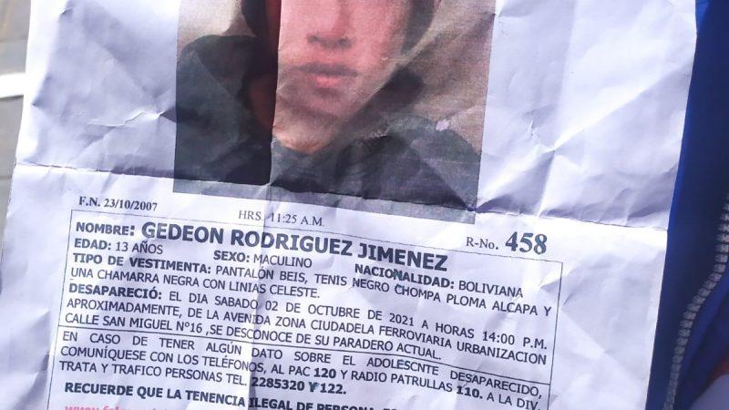 Niño de 13 años desaparecido: Policía presume que se encuentra con familiares en Perú